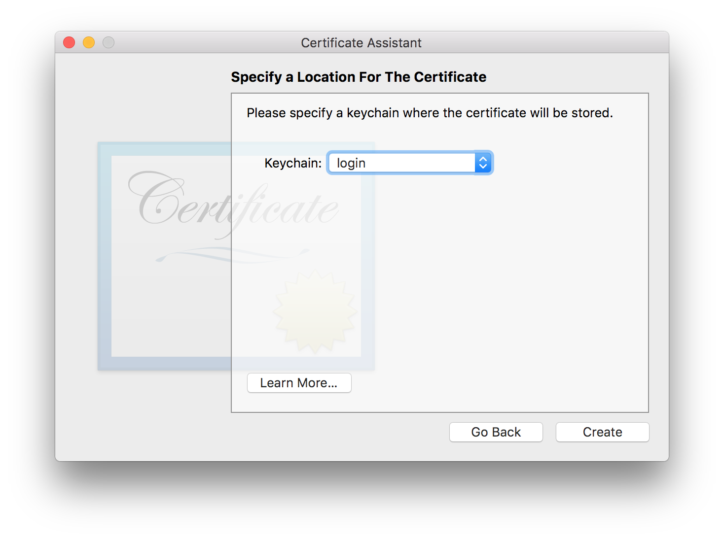 Specify a Keychain Location for the Certificate