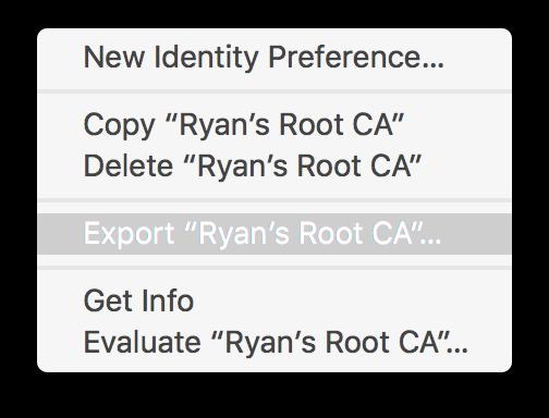 Context menu, Export CA…