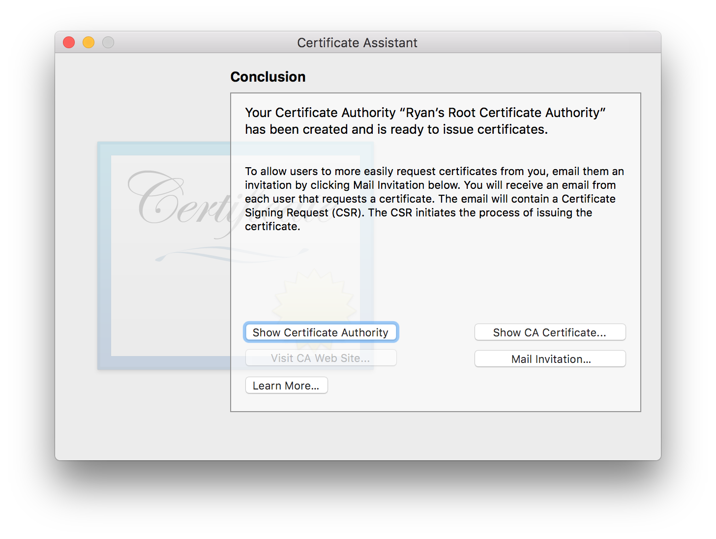 Certificate Authority has been created.