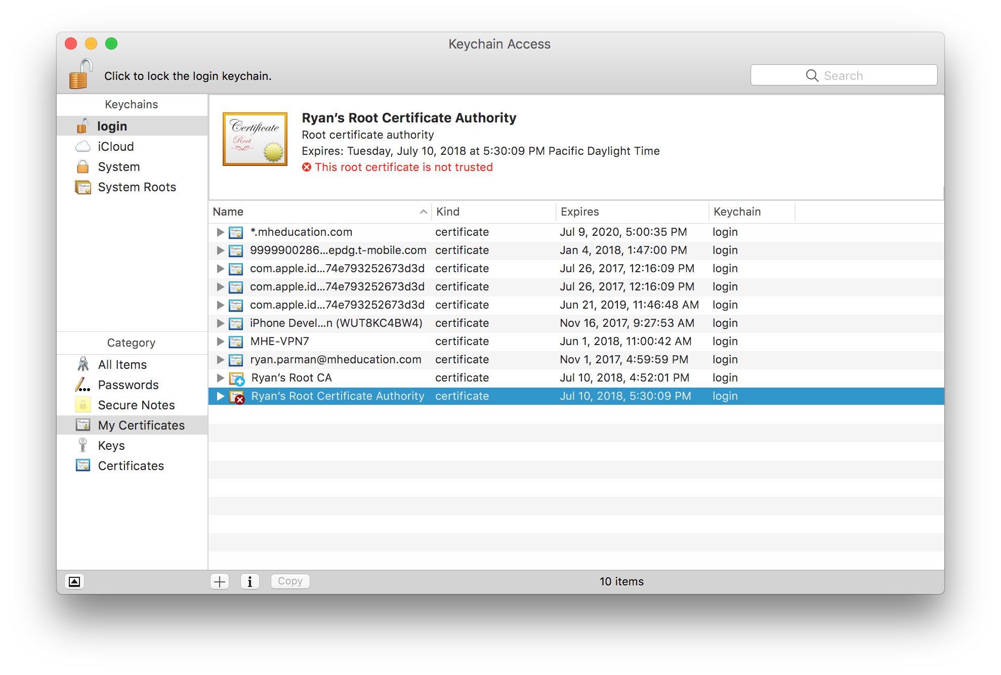 macOS Keychain Access