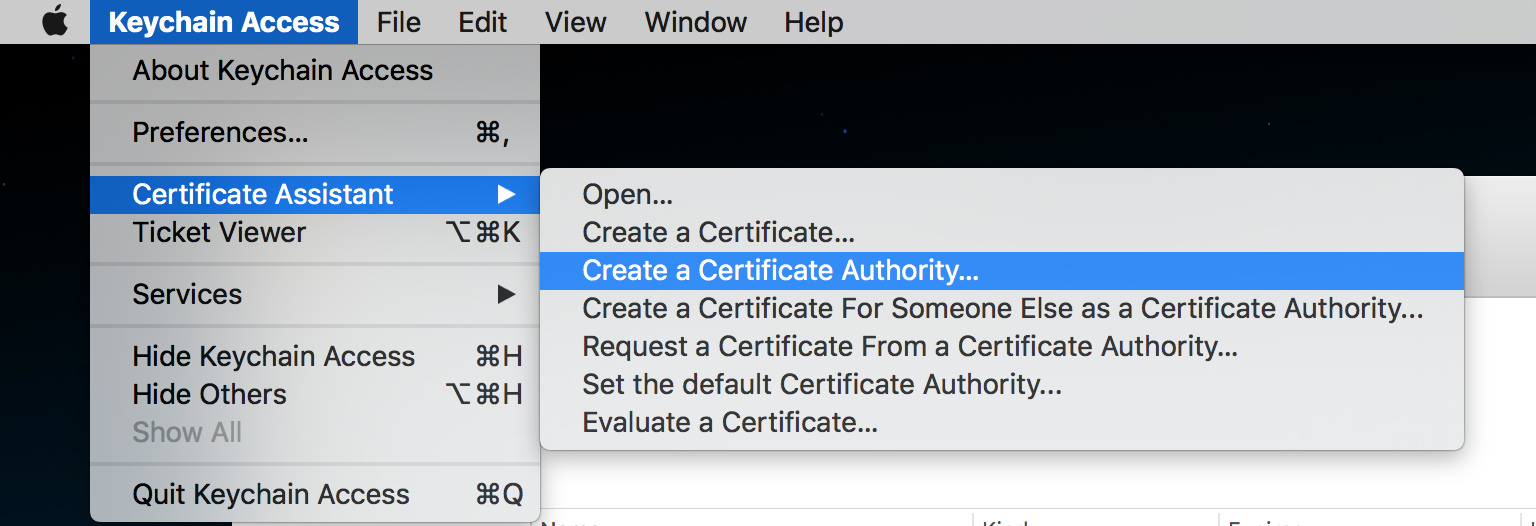 Create a Certificate Authority…