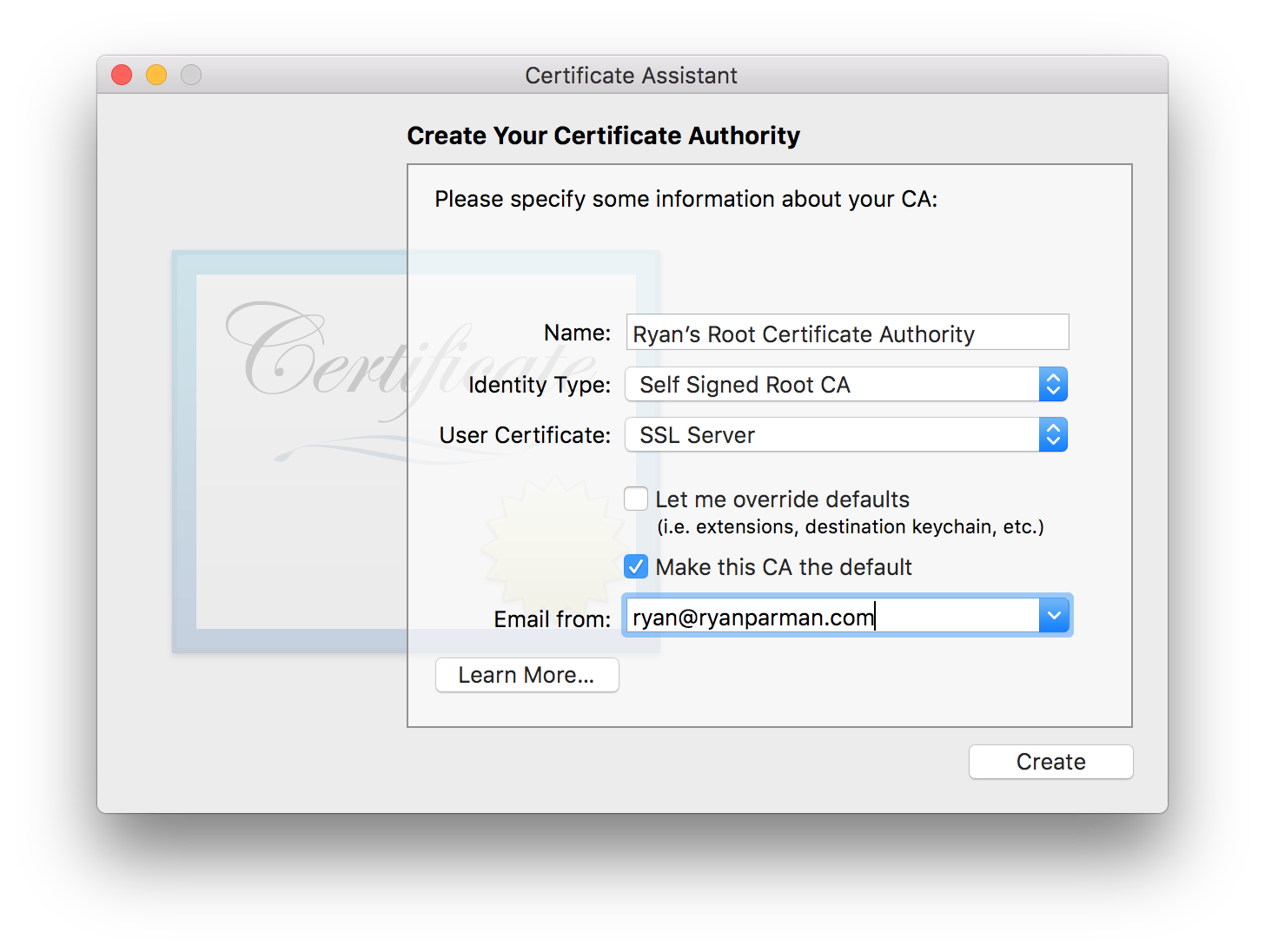 Create your new Certificate Authority…