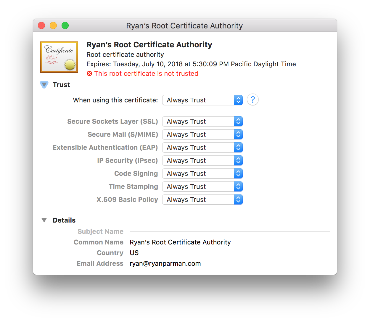 Trust options for Certificate Authority