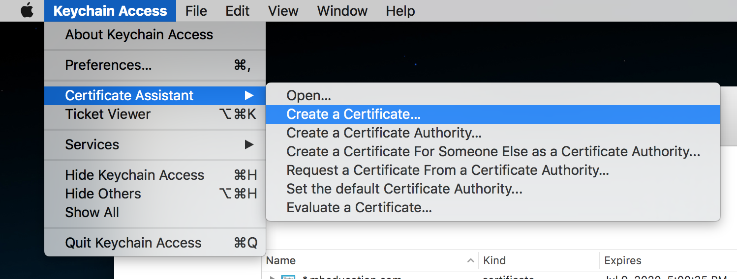 Open the Certificate Assistant