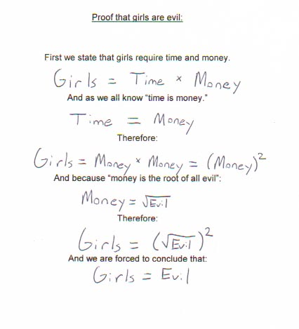 Mathematical proof that girls are evil.