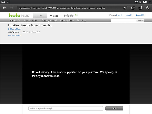 Hulu blocks HP TouchPad